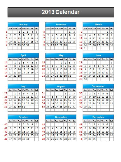 yearly calendar template excel 2013
