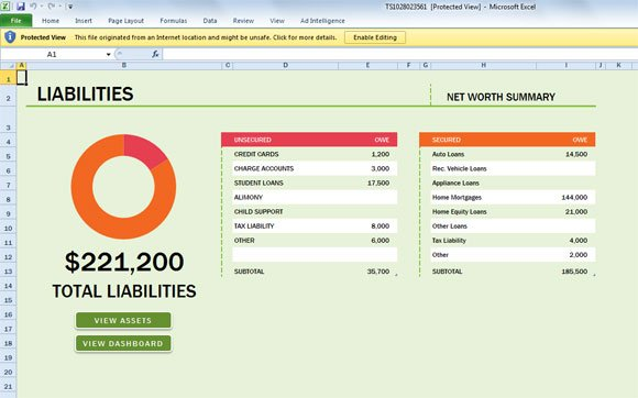free net worth Excel 2013 template if you need financial templates ...