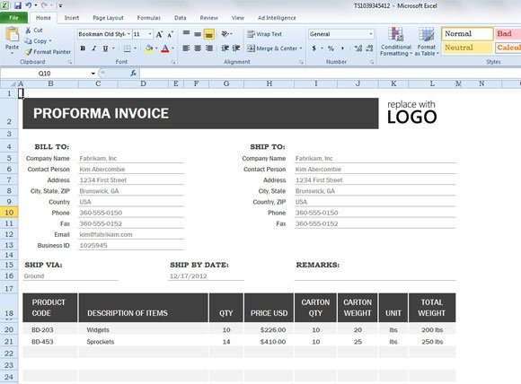 invoice template excel 2013  Proforma Invoice Template for Excel 2013