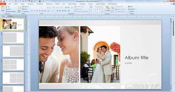 Free Wedding Photo Album Template for PowerPoint 2013 | PowerPoint ...
