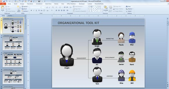 Organization Chart Template Powerpoint 2010 | animated org chart powerpoint template free