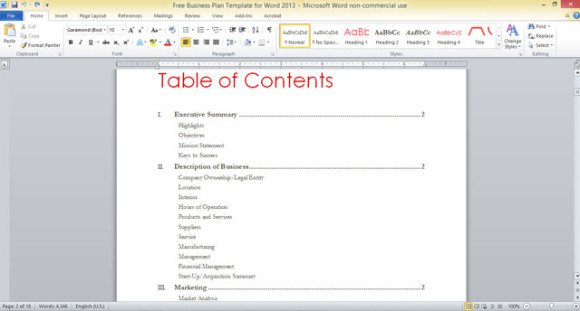 free table of contents template powerpoint www