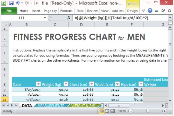 Fitness Progress Chart Template for Excel – Workout Char Template