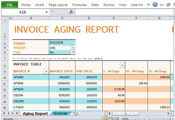 invoice aging report excel template  Track Accounts Receivable With Invoice Aging Report Template For Excel