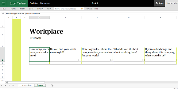 Workplace Survey Template for Excel Online – Survey Templates Free Microsoft