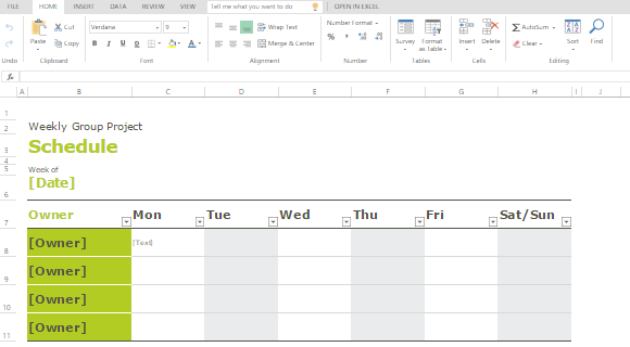 Convenient Weekly Group Schedule Template For Team Manager