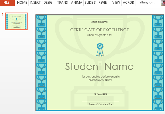 Certificate of excellence template for powerpoint for Certificate of excellence template