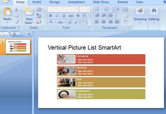 Vertical Picture List SmartArt PowerPoint Template – Smartart Powerpoint Template