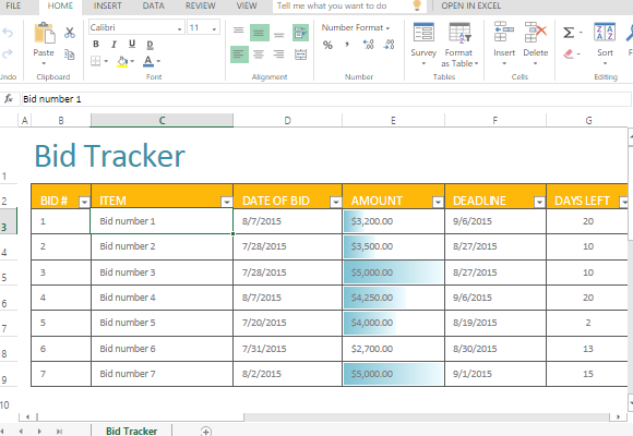 Bid Tracker Template For Excel – Bidding Template