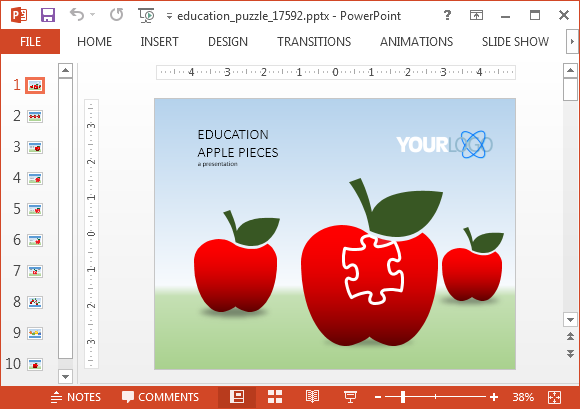 Animated education puzzle powerpoint template toneelgroepblik