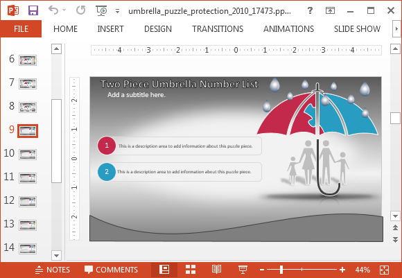 Animated umbrella protection powerpoint template umbrella bullet points toneelgroepblik Choice Image