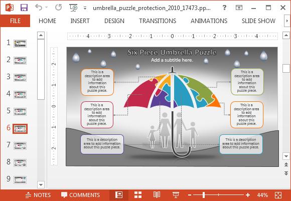 Animated umbrella protection powerpoint template umbrella puzzle pieces toneelgroepblik Image collections