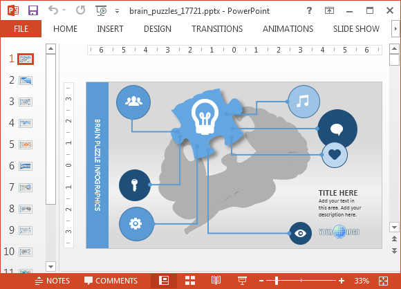 psychology powerpoint template with brain puzzle animations, Powerpoint