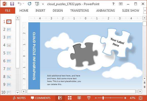 Animated Cloud Puzzle PowerPoint Template – Animated Power Point Template