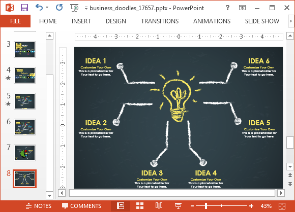 Animated business doodle timeline template for powerpoint for Mind map template powerpoint free download