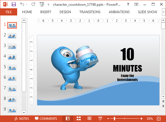 Countdown PowerPoint Template With 10 Minutes Timer
