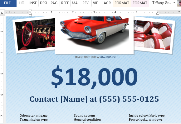 How To Make A For Sale Flyer in Word – Car Sale Flyer