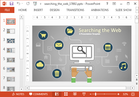 Animated Search Engine PowerPoint Template For SEO Experts