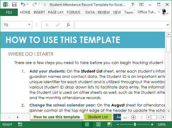 Student Attendance Record Template For Excel – Student List Template