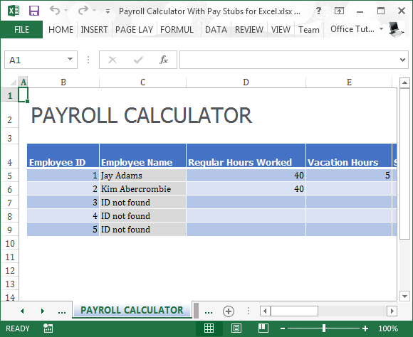 Payroll Calculator With Pay Stubs For Excel – Hours Worked Calculator