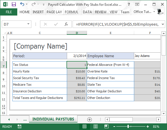 Payroll Calculator With Pay Stubs For Excel