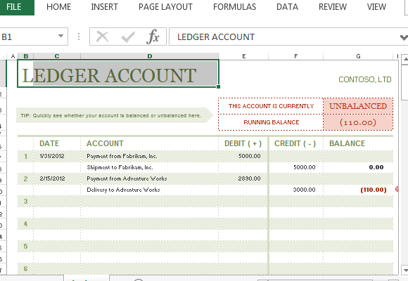 TAccount Ledger Template For Excel – Accounting Ledgers Templates