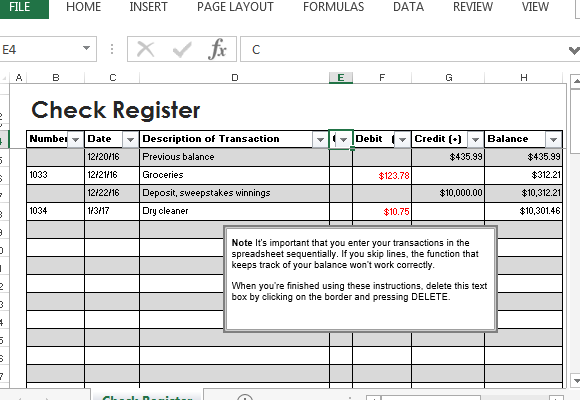 Check Register Template For Excel – Check Register Worksheet