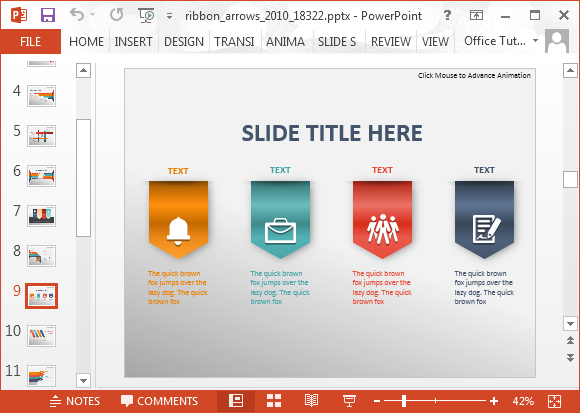how to design your own powerpoint template - animated ribbon arrows infographic powerpoint template