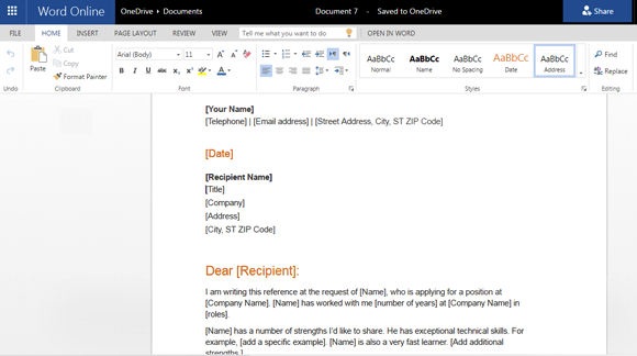 letter of recommendation template for word