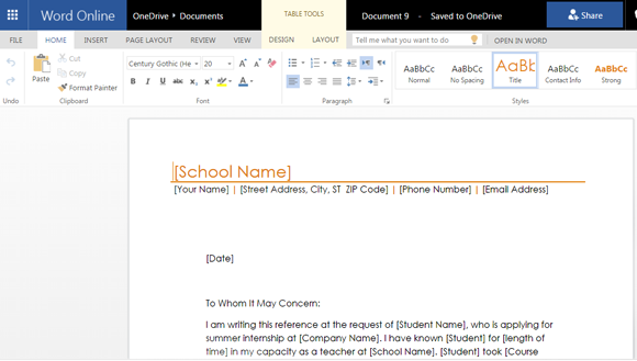 student reference letter template for microsoft word online
