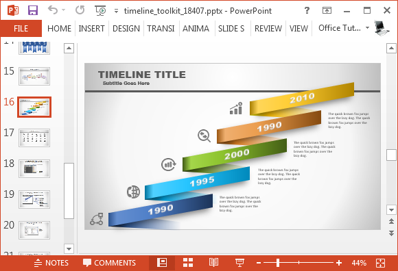 Animated timeline generator template for powerpoint timeline toolkit with custom diagrams toneelgroepblik