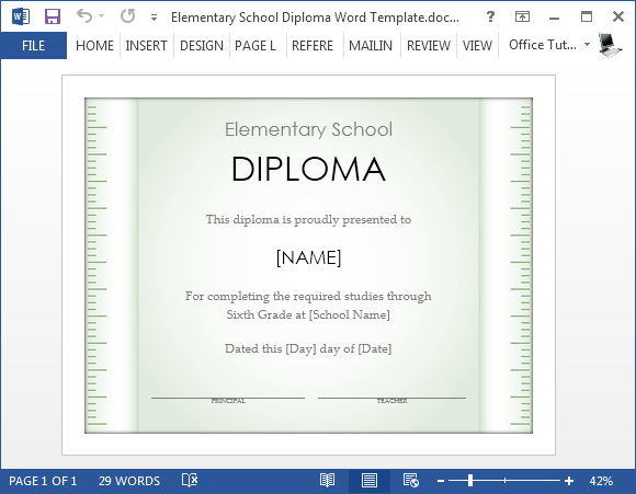 Free elementary school diploma template for word for Degree certificate template word