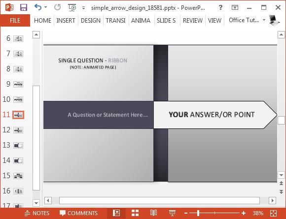 Slim arrow animated timeline powerpoint template toneelgroepblik Gallery