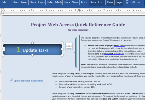 project management manual template - project web access reference template for word