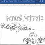 Forest Animals Educational Coloring Book For Word