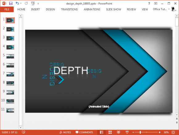 animated design depth powerpoint template, Powerpoint