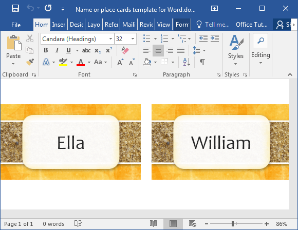 word template card