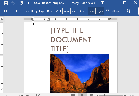 Cover Report Template For Word With Cover Picture – Word Template Report