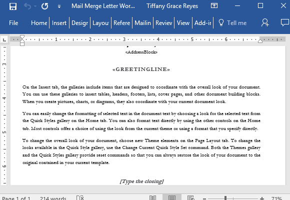 Letter Layout With Word