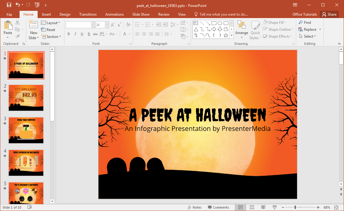 animated peek at halloween powerpoint template. Black Bedroom Furniture Sets. Home Design Ideas