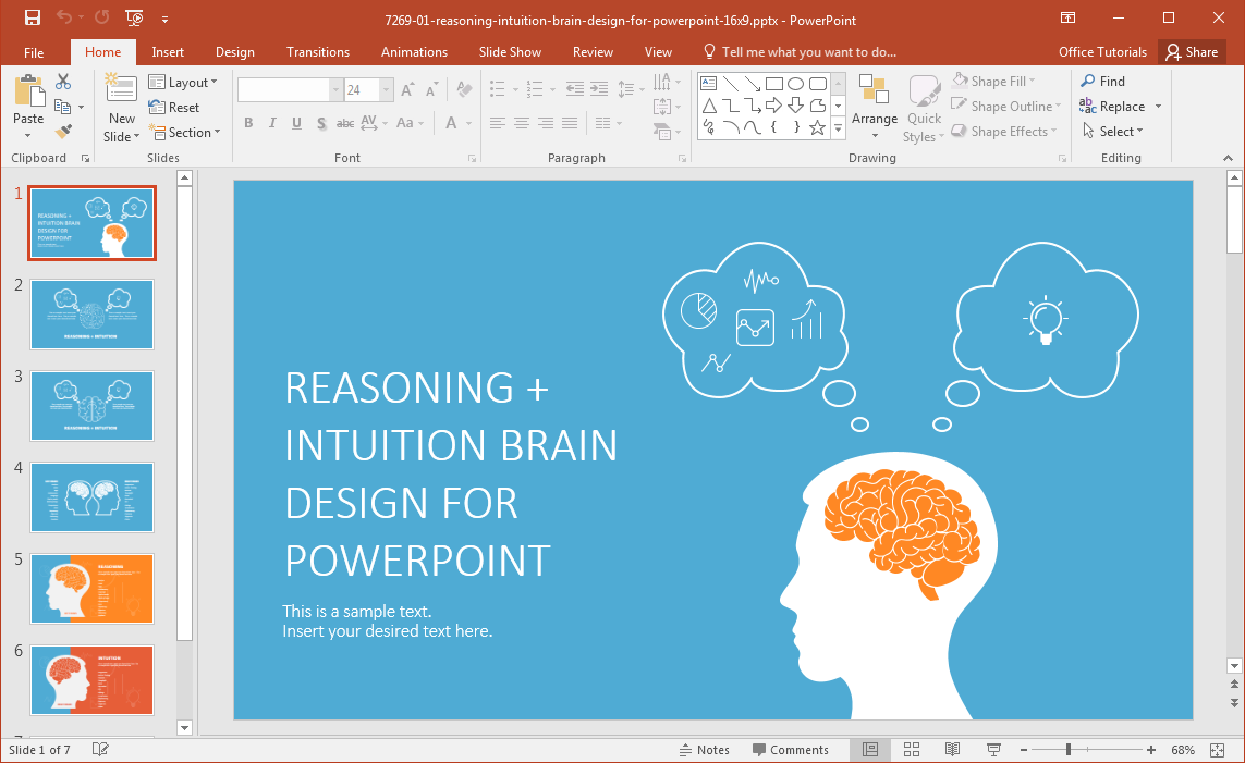 Left brain vs right brain powerpoint template for Powerpoint theme vs template