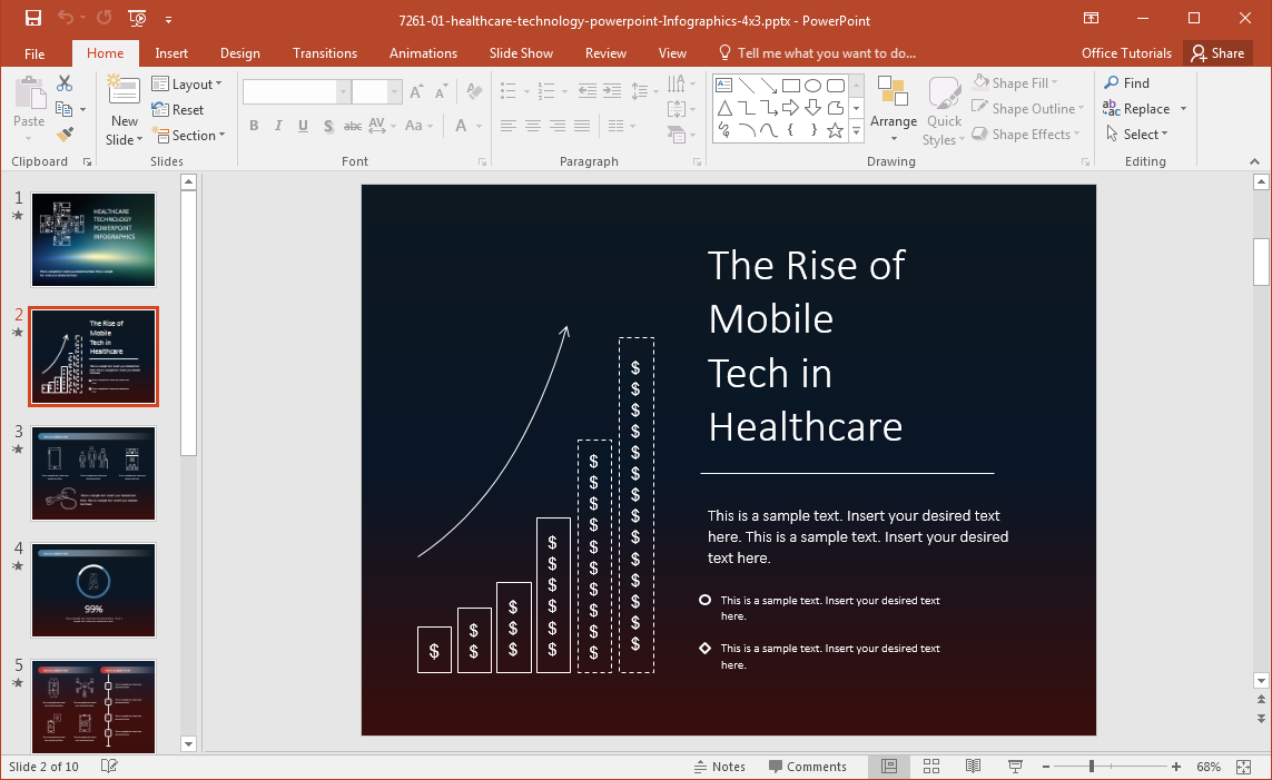 healthcare technology infographics template for powerpoint