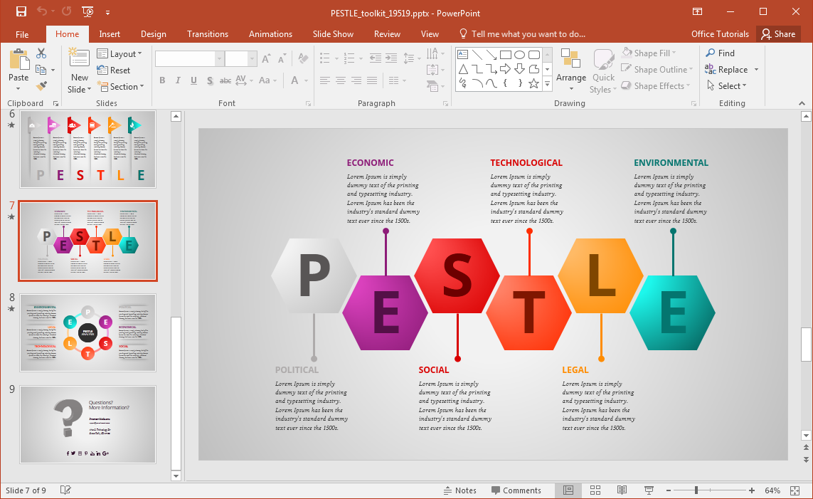 Animated pestle analysis presentation template for powerpoint for Free slide templates
