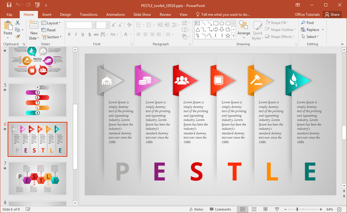Animated pestle analysis presentation template for powerpoint for Power point templates for mac
