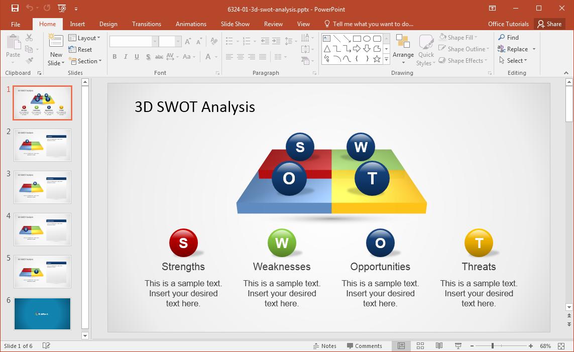 3D SWOT PowerPoint Template – 3d Powerpoint Template