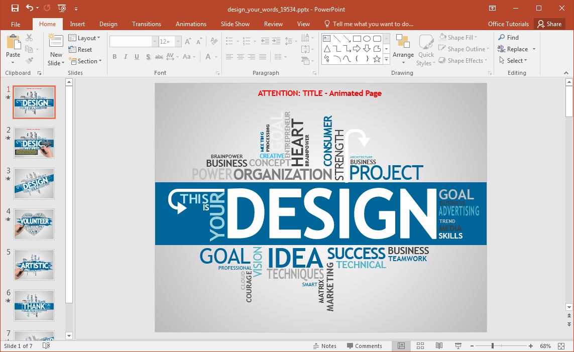 what is a design template in powerpoint - animated design your words powerpoint template