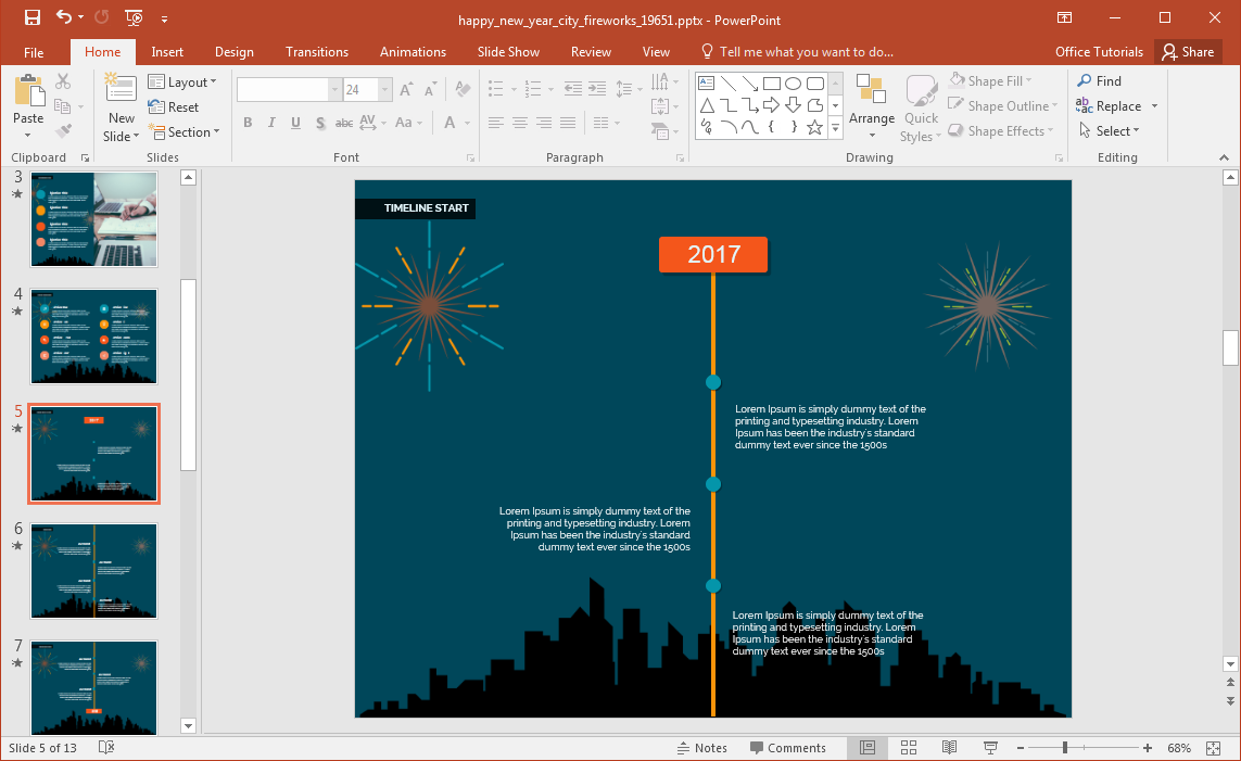 animated happy new year city fireworks powerpoint template. Black Bedroom Furniture Sets. Home Design Ideas