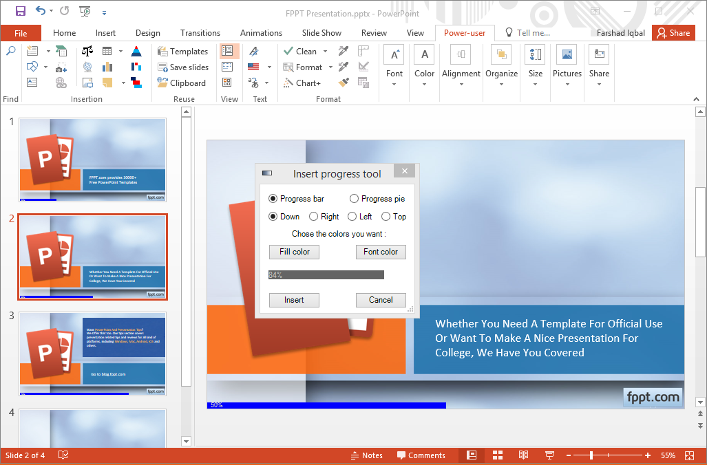 Add Progress Bar to a PowerPoint Presentation in Power-User