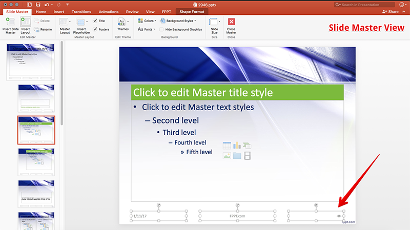 Slide Number in Slide Master view