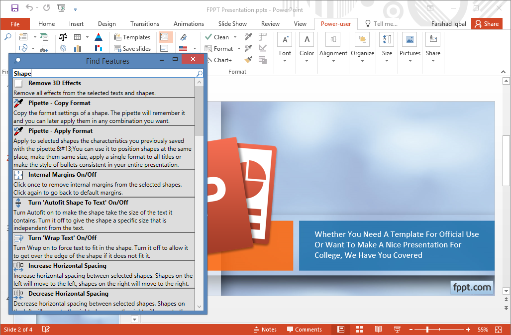 Search and find Power-User Features in PowerPoint presentations